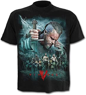 Spiral Direct Camiseta Vikings con Ragnar y Ejército Vikingo Estampados - Negro