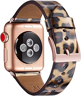 WFEAGL Compatible iWatch Band 38mm 40mm, Top Grain Leather Band with Gold Adapter (Same as Series 5/4/3 with Gold Aluminum Case in Color) for iWatch Series 5/4/3/2/1 (Leopard band+Gold Square Adapter)