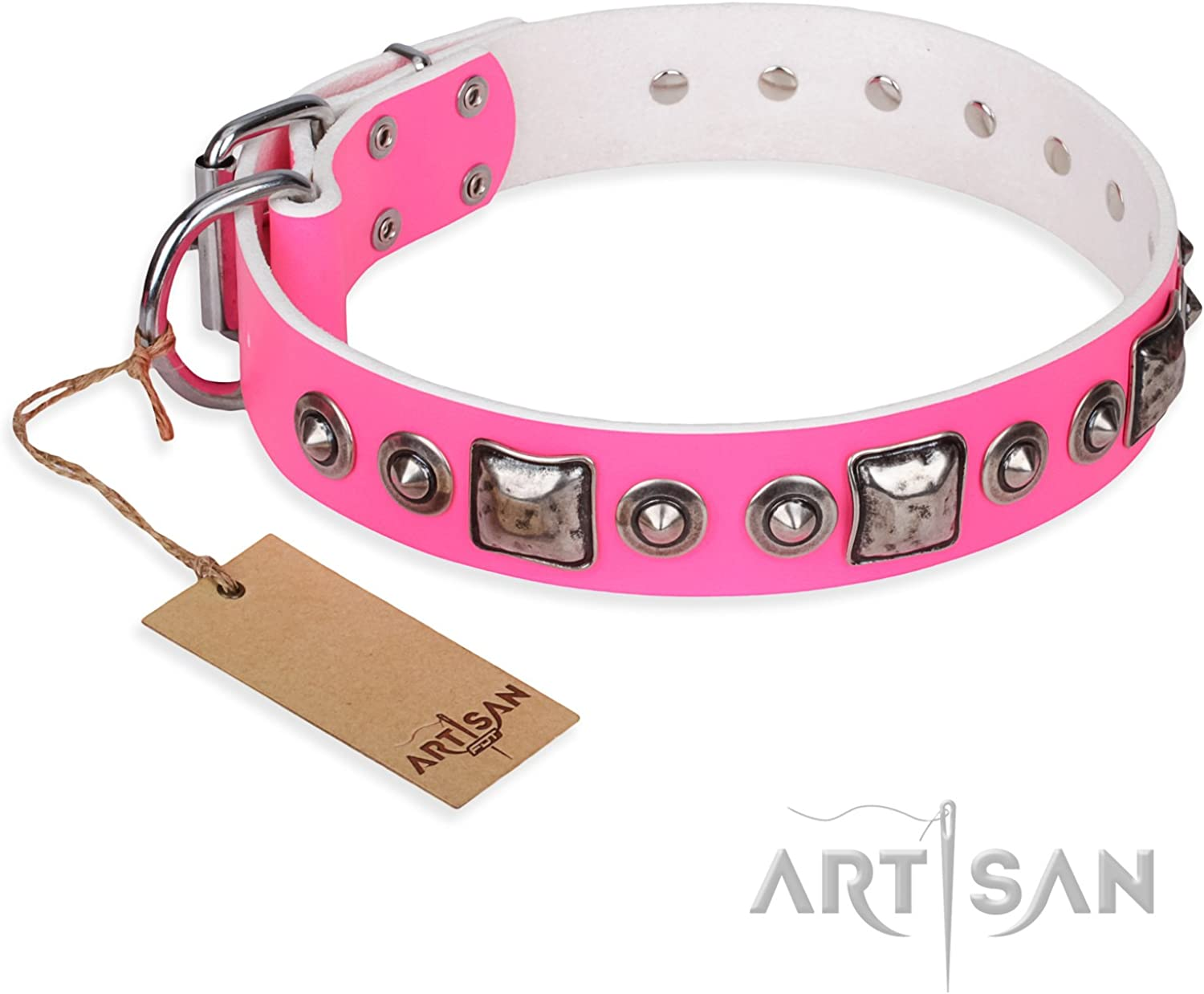 FDT Artisan 29 inch Pink Leather Dog Collar with Old Silver Like Decor  Delicacy & Refinement