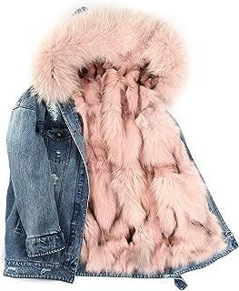 2019 New Winter High Fashion Street Womans Denim Fur Coat Real Fox Fur Parka Hooded Jackets