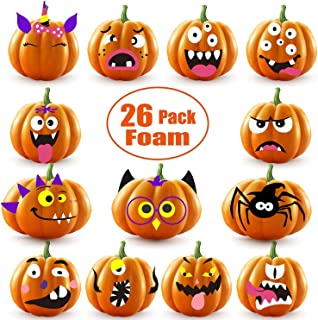 26 Sets Halloween Foam Pumpkin Decoration Stickers, Self Adhesive 3D Pumpkin Face Decorating Stickers Craft for Parties, Kids, School or Other Halloween-Themed Activities