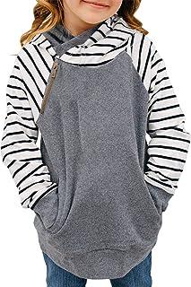 Blibea Girls Kids Long Sleeve Button Double Hooded Sweatshirt Pullover Tops