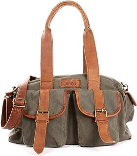 LECONI Henkeltasche Frauen Schultertasche Damentasche Vintage-Look Canvas  Leder Damen Retro Freizeit Mode Handtasche Umhängetasche 35x20x12cm LE0042-C