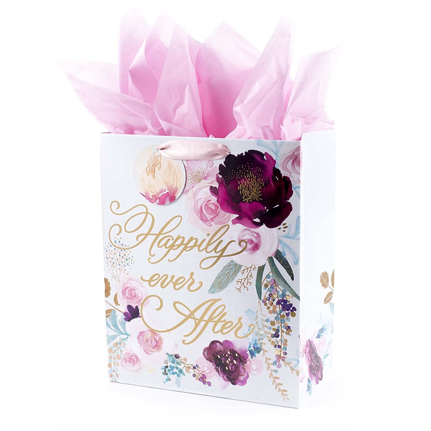 Hallmark Large Gift Bag with Tissue Paper for Weddings, Bridal Showers, Engagements and More (Floral, Happily Ever After)