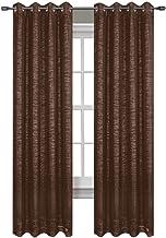 لوحة ستائر نافذة الحمام الرائجة، مجموعة لامعة، 137.16 سم × 213.36 سم، لون بني داكن