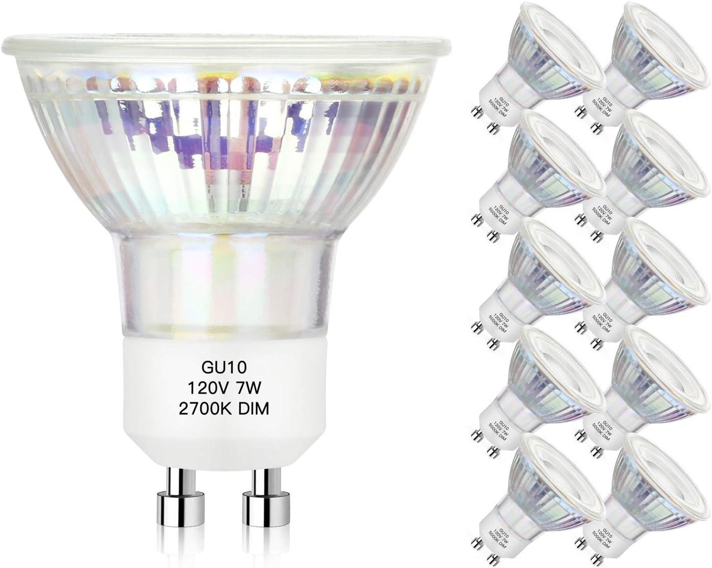 Flood Light MR16 Full Glass Cover Led Track Light Bulbs Warm White 2700K 25000+ hrs 50W 60W Equivalent 10 Pack Dimmable GU10 LED Spotlight Bulbs 7 Watt 600Lumens