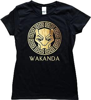 Wakanda Gold Foil Women Black Shirt