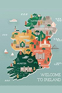 Ireland Map Landmarks Cities Travel Illustration Laminated Dry Erase Sign Poster 12x18