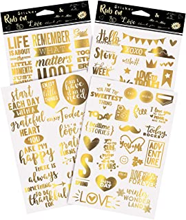 Limited Edition, Gold VSCO Transfers 55 PCS | Scrapbook Stickers| Love Stickers| Stop Following & Start Influencing. Designed in California. Unique to Amazon. Won't Find Anywhere Else!