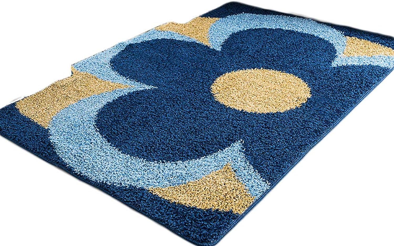 Latex Backing Non Slip Door mat Indoor Outdoor Entrance Rug Floor mats shoes Scraper Bathroom Kitchen Household Water Absorption Carpet-bluee 120x120cm(47x47inch)