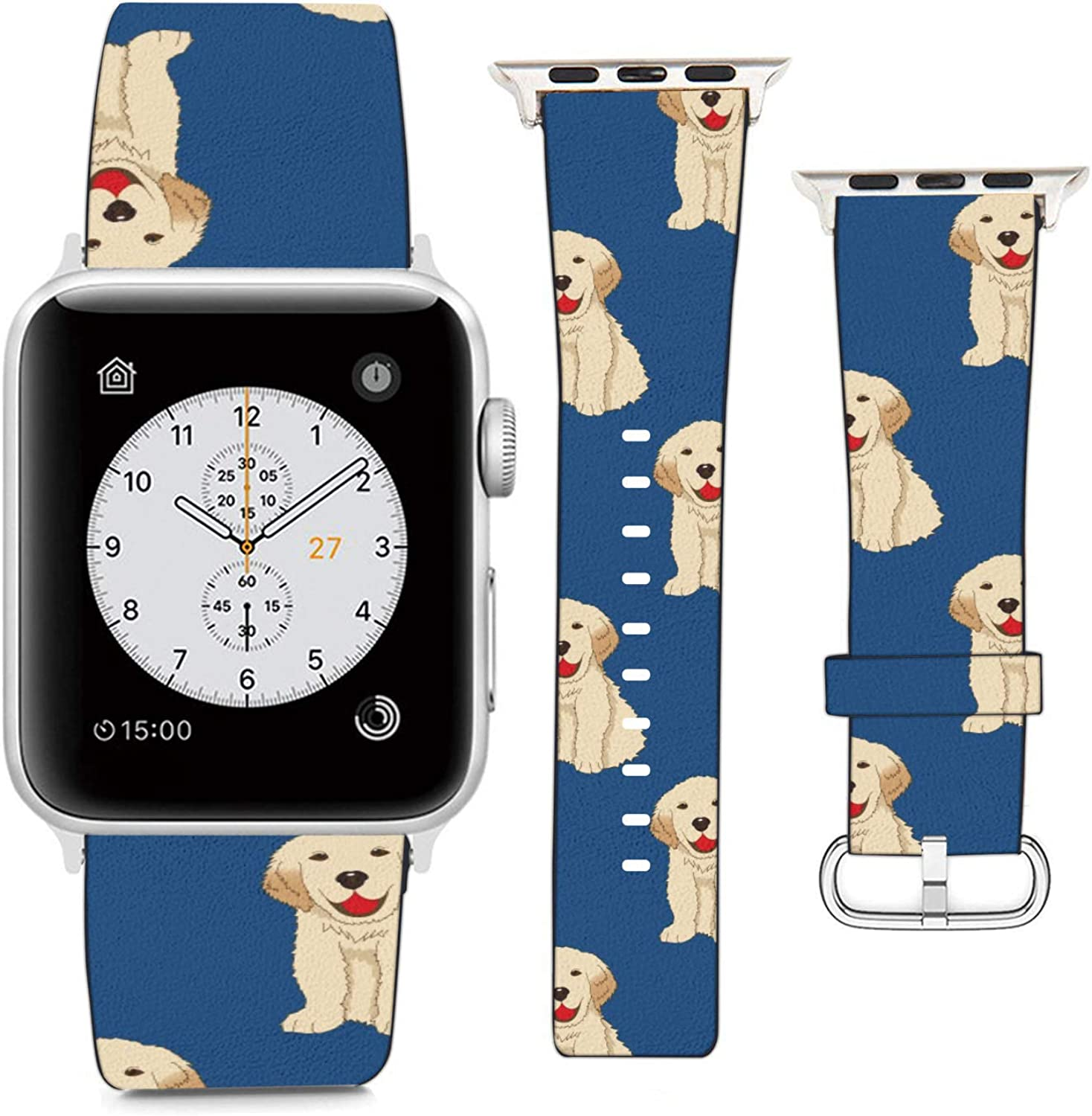 Compatible with Apple Watch Wristband 42mm 44mm, (Golden Retriever Puppy) PU Leather Band Replacement Strap for iWatch Series 5 4 3 2 1
