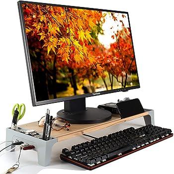 モニター台 USB モニタースタンド 木製 机上台 パソコンスタンド キーボード収納 パソコン台 PC台 PCスタンド 木目調【正規販売1年保証付】