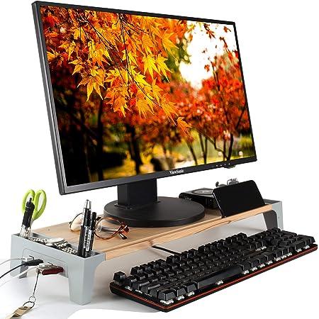 モニター台 USB ハブ モニタースタンド 木製 机上台 パソコンスタンド キーボード収納 パソコン台 PC台 PCスタンド 木目調【正規販売1年保証付】