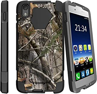 MINITURTLE Compatible with Alcatel Idol 4, Alcatel Nitro 49 Kickstand Dual Layer Black Case - Tree Bark Hunter Camo