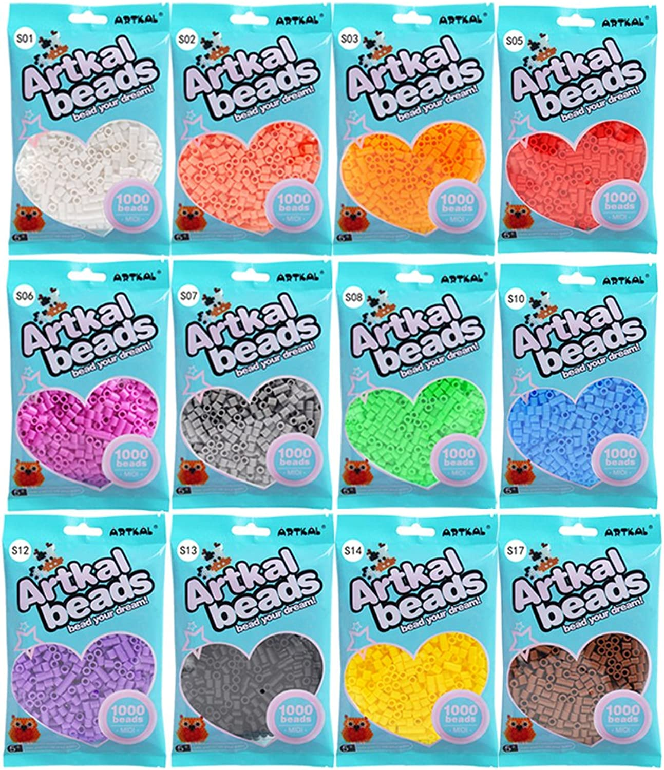 Artkal Beads 12 colors Bag Set 1000 Count Bag Pack SB100012A to E for Choice (A)