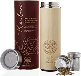 The Love Bamboo Tea Tumbler Thermos with Infuser + Strainer 511ml/18oz for Loose Leaf Tea, Coffee & Fruit Water Flask. Vacuum Insulated Travel Bottle. Leak Proof + BPA Free