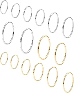 3c7c6ca01 Shinity 16pcs Stainless Steel Rings Statement Knuckle Midi Stackable Thin  Band for Women Girl 1MM