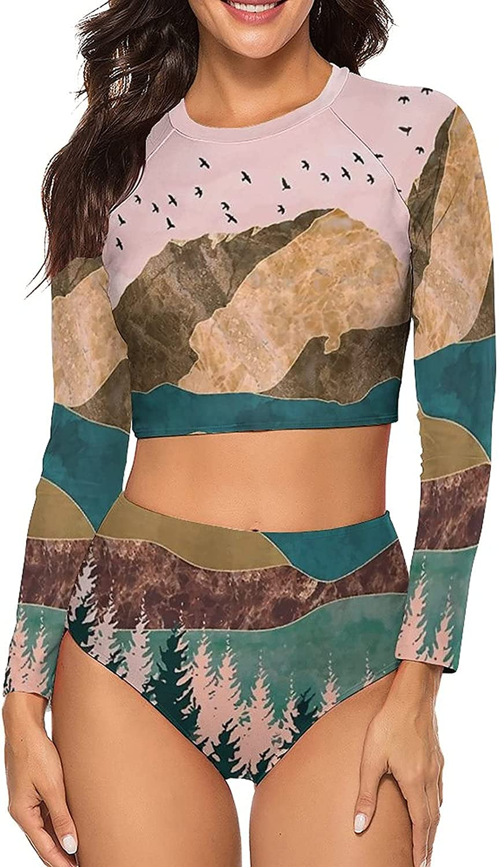 Tvsuh-u Women's Bathing Suits 2 PCS Mountain Forest Tree Sky Long Sleeve Rash Guard Swimsuits