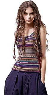 Women's Boho Striped Tank Top Knitted Sleeveless Sweater Vest