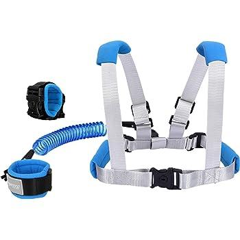 Toddler Child Kids Safety Strap Rein Blue 2pk-Adjustable /'Hey Baby/' Wrist Links