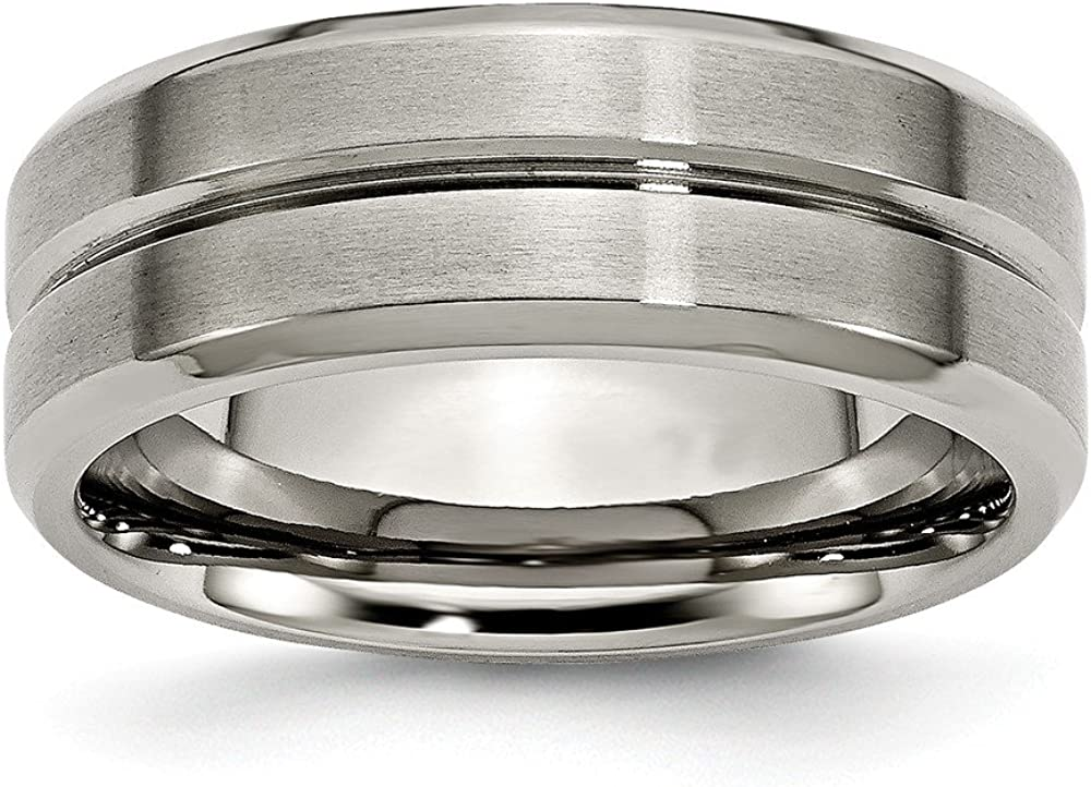 ICE CARATS Titanium Brushed 8mm Grooved Beveled Edge Wedding Ring Band Fashion Jewelry for Women Gifts for Her