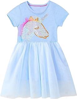 JinBei Sukienka dla dziewczynek sukienki T-shirt zwierzęta nadruk ubrania dzieci na co dzień na imprezę urocze topy bawełn...