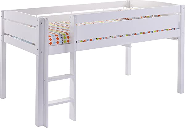 CANWOOD Whistler Junior Loft Bed White Twin Sized Mattress Not Included Bunk Bed Alternative Great For Sleepovers Underbed Storage Organization