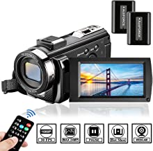 Video Camera Camcorder Digital Camera YouTube Vloggaing Camera Video Recorder Full HD 1080P 30FPS 24MP 3.0 Inch 270 Degree Rotation Screen16X Digital Zoom Camcorder with Remote Control (2 Batteries)