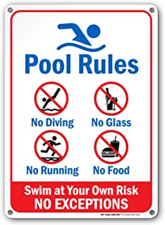 Pool Rules - Swim at Your Own Risk Sign - 10