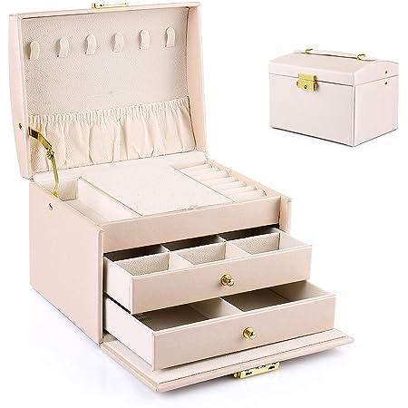 Boîte à Bijoux Aidodo, Boîte à Bijoux 3 Niveaux, Coffret à Bijoux en cuir PU, Boîte à Bijoux Créative, Boucles d'Oreilles, Bague, Collier, avec Serrure et clé, Cadeau créatif, Rose Nude