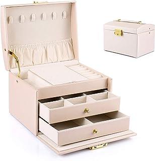 Boîte à Bijoux Aidodo, Boîte à Bijoux 3 Niveaux, Coffret à Bijoux en cuir PU, Boîte à Bijoux Créative, Boucles d'Oreilles,...