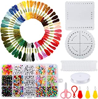 PP OPOUNT Bracelet Making Beads Kit with 50 Embroidery Floss, 1930 Pieces Alphabet Letter Beads and Braiding Disc for Friendship Bracelets, Jewelry Making