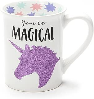 Enesco 6001216 Glitter Ceramic Coffee Mug, 16 Ounce, Purple