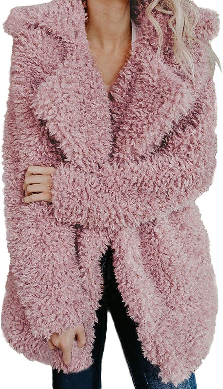 fghvcbnghf Women Faux Fur Coat Lapel Open Front Cardigan Sweater Coats Thick Fuzzy Jacket Long Overcoat Winter Outwears Pink