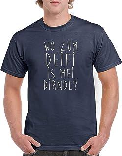 Comedy Shirts Wo zum Deifi is MEI Dirndl - Herren T-Shirt - Rundhals, 100% Baumwolle, Kurzarm Top Basic Print-Shirt
