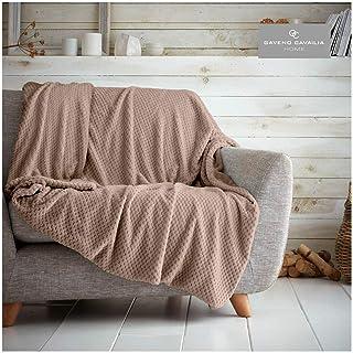 Gaveno Cavailia Popcorn Honey Comb Sofa Bed Blanket, Super Soft Fluffy Easy Care Lightweight Luxury Design, Cosy Warm Sett...