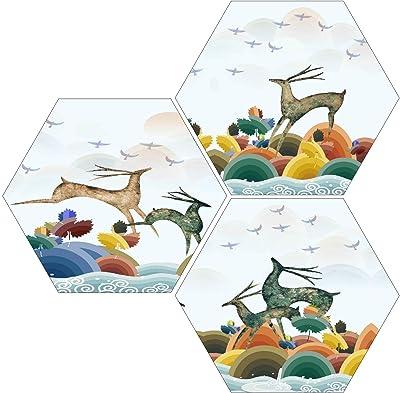 SAF 6MM MDF Hexagon Reindeer Painting Digital Reprint 21 inch x 21 inch Painting () SANFHX56