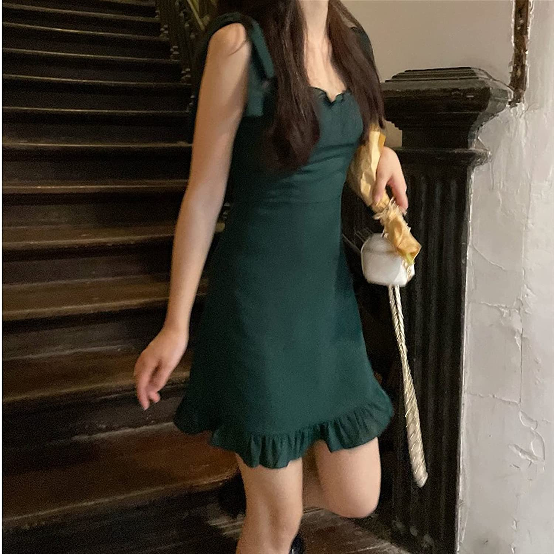 BangHaa Sling Dress Female Summer 2021 New French Hot Girl Design Sense Temperament Slim Bag Hip Short Skirt for Beach Vacation (Color : Green, Size : Small)