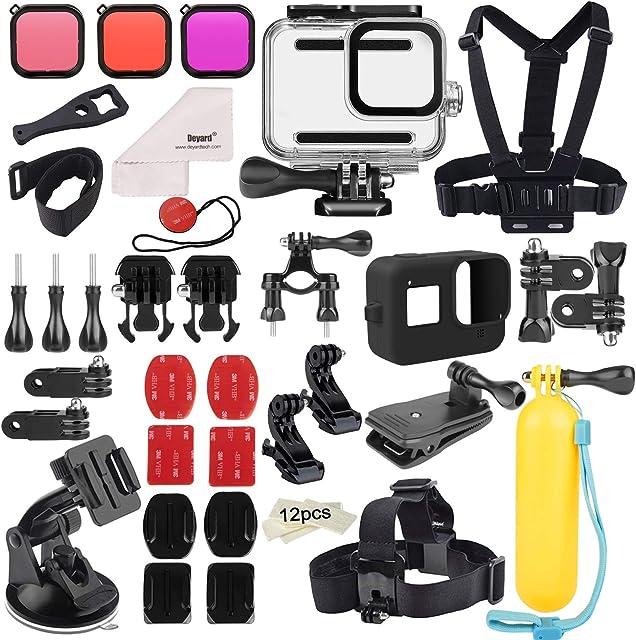 Deyard 52 en 1 Kit de Accesorios para GoPro Hero 8 Black Funda Impermeable con 3 Filtros Funda de Goma para Cuerpo/Cabeza/Correa de Muñeca/Clip de mochilas para el coche