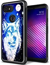 Wolf Case for Google Pixel 3 XL,Gifun [Anti-Slide] and [Drop Protection] Soft Black TPU Protective Case Cover for Google Pixel 3 XL 2018 Release - Moon and Wolf