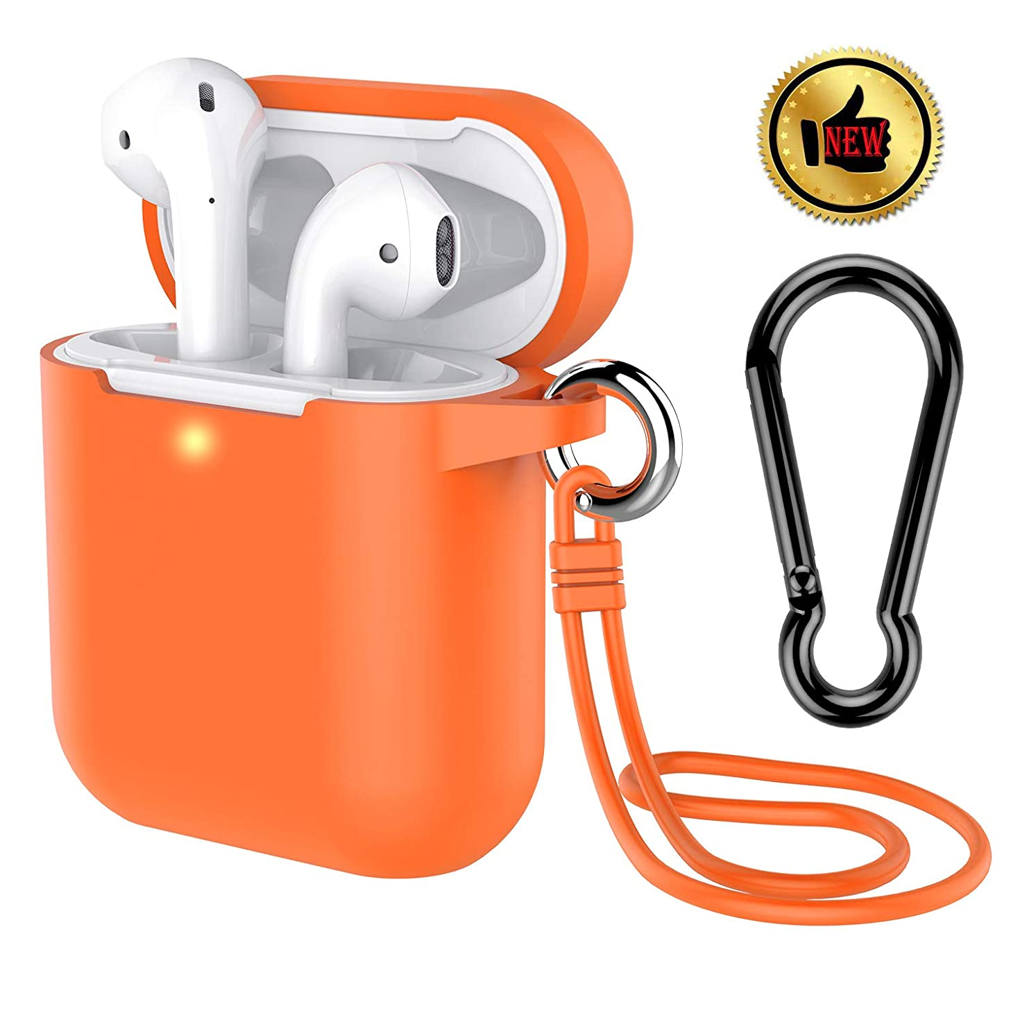 AirPods Case, Coffea Protective Silicone Cover Skin with Keychain/Stap for Apple AirPods 2 Wireless Charging Case [Front LED Visible] (Vibrant Orange)