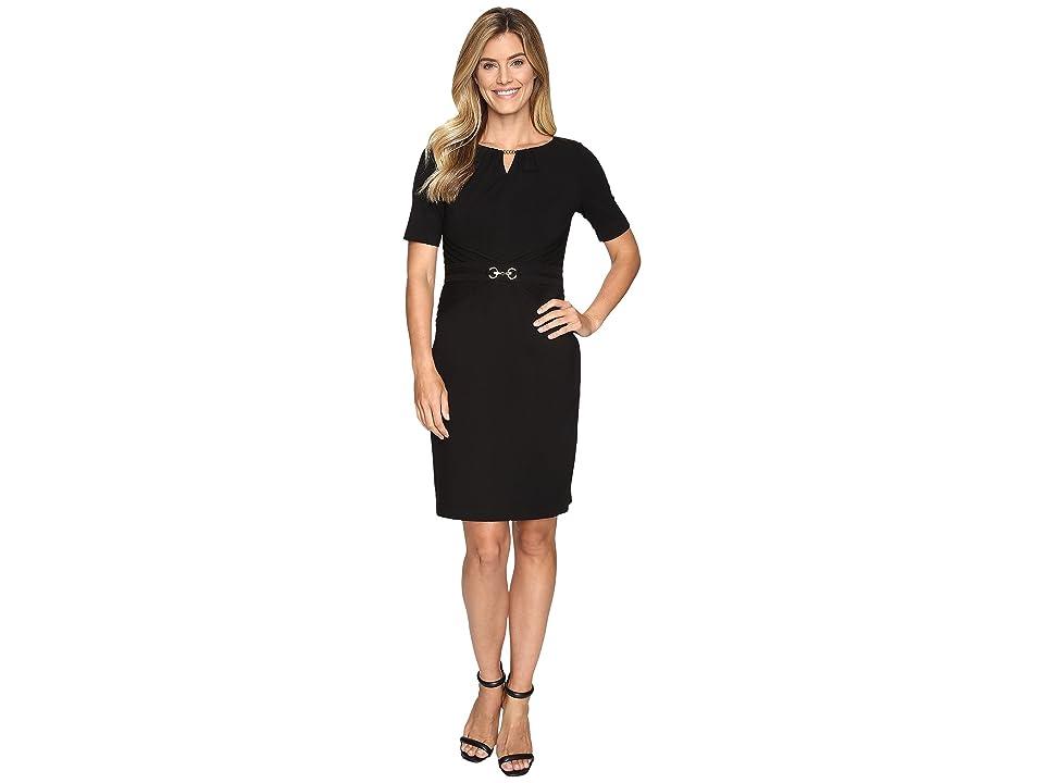 Ellen Tracy Luxe Stretch Dress w/ Keyhole (Black) Women