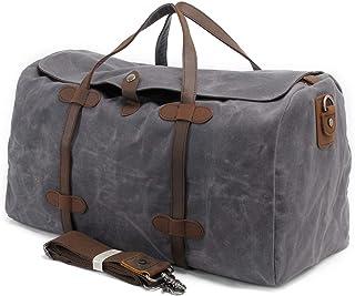 Bolsa de viaje para hombre, lona encerada, impermeable, grande, unisex Gris Lona encerada gris impermeable Large