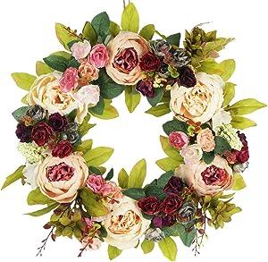 Delicaft Large peonies Hydrangea wreath Door Wreath - Handcrafted Wreath for home wall decor