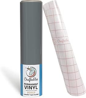 Craftables Grey Vinyl Roll - Permanent, Adhesive, Glossy & Waterproof | 12