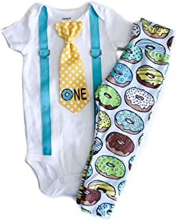 Donut Birthday Cotton Outfit Baby Boy's Cake Smash 1st Birthday Clothes