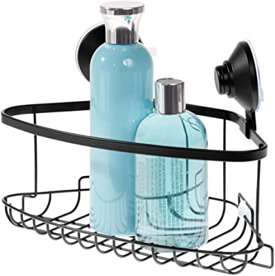 """iDesign Everett Metal Push Lock Suction Corner Shower Caddy, Extra Space for Shampoo, Conditioner, and Soap with Hooks for Razors, Towels, Loofahs, and More, 5.58"""" x 10.58"""" x 6.67"""", Matte Black"""