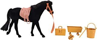 20cm Black Flocked Horse with Accessories - Horse Toys - Farm Toys