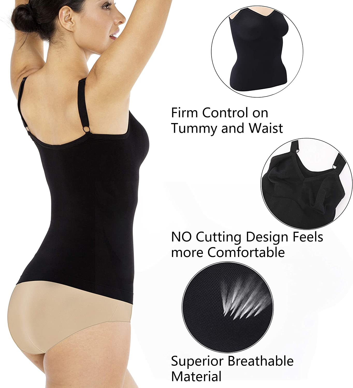 Mayuber Womens Seamless Shapewear Tank Top Slimming Camisole Underwear Body Shaper Cami with Adjustable Straps