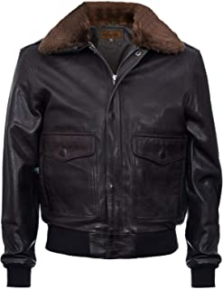 Men's Air Force A2 USAF Brown Pilot Aviator Real Leather Flight Bomber Jacket